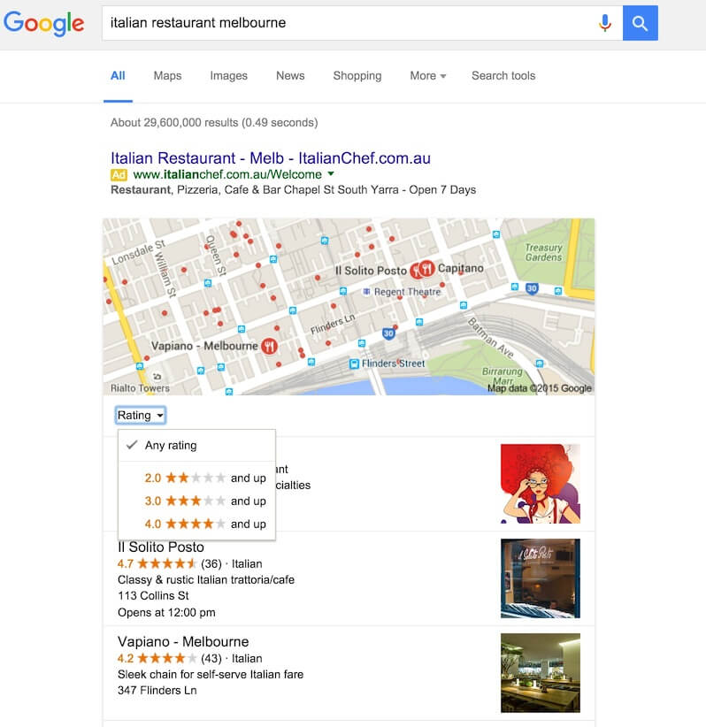Google Maps Ratings Filter